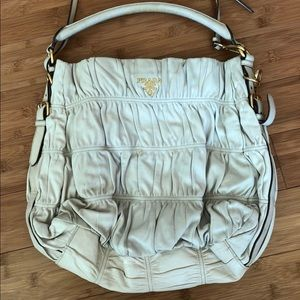 Prada light beige large purse tote bag with strap